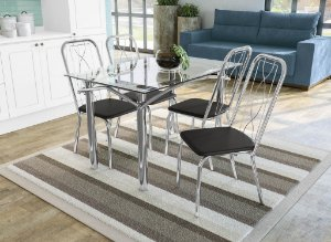 Conjunto de Mesa Elba 04 Cadeiras Viena - CR110