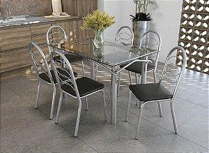 Conjunto de Mesa Elba 06 Cadeiras Holanda - CR110