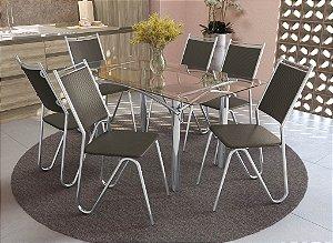 Conjunto de Mesa Elba 06 Cadeiras Londres - CR21