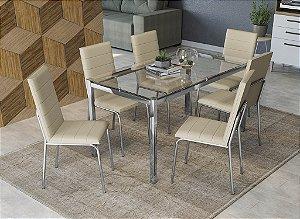 Conjunto de Mesa Reno 06 Cadeiras Amsterdã - CR16