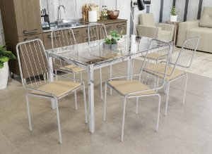 Conjunto de Mesa Reno 06 Cadeiras Benim - CR16