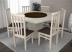 Conjunto de Mesa Sextavada com base Giratória 06 Cadeiras Life