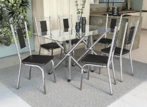 Conjunto de Mesa Volga 06 Cadeiras Florença - CR110