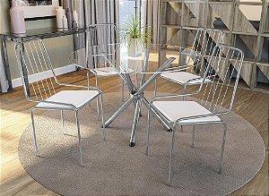Conjunto de Mesa Volga Redonda 04 Cadeiras Benin - CR106