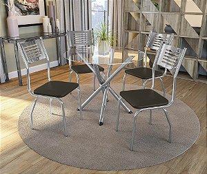 Conjunto de Mesa Volga Redonda 04 Cadeiras Munique - CR21