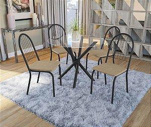 Conjunto de Mesa Volga Redonda 04 Cadeiras Noruega - PR110