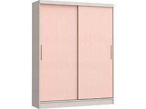 Guarda Roupa 2 Portas de Correr Soleil 3672A - Branco / Rosa