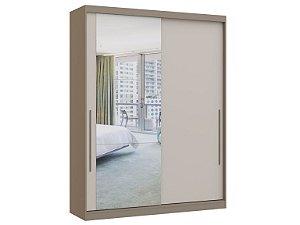 Guarda Roupa 2 Portas de Correr Premium Elegance 4222A - Nacar / Off white com espelho
