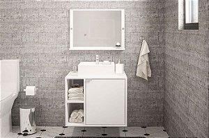 Balcão com Espelho para Banheiro Suzano - Branco