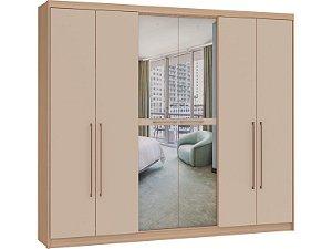 Guarda Roupa 6 Portas Eletto 3381A - Nogueira / Blanc com espelho