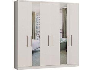 Guarda Roupa 6 Portas Garten 3862A - Branco com espelho
