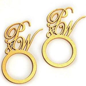 Porta Guardanapo em Mdf e pintado em Dourado com argola