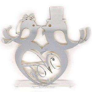 Topo de bolo em acrílico espelhado, podendo ser com noivos, iniciais entre outros