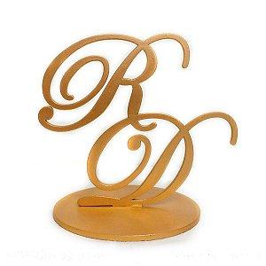 Topo de bolo em MDF pintado de dourado