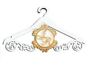 Cabide Personalizado Laminado Branco com monograma