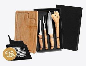 Kit Churrasco Em Bambu Com Avental E Tábua Personalizado