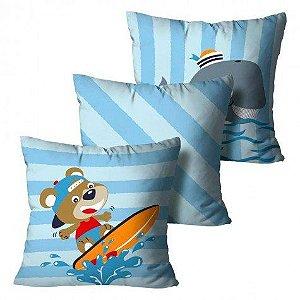 Kit com 3 Almofadas Urso - Azul Infantil