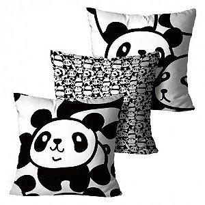 Kit com 3 Almofadas Panda - Preto e Branco Infantil
