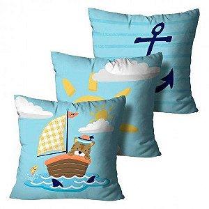 Kit com 3 Almofadas Barco - Azul Infantil