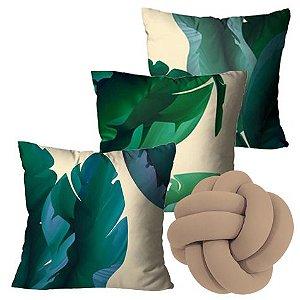 Kit com 3 Capas para Almofadas Folhas Verdes + Almofada Nó (Bege)