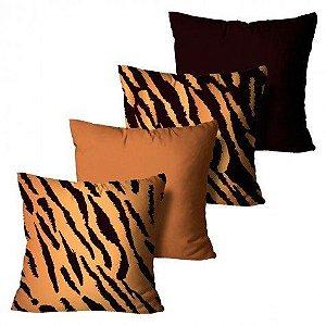 Kit com 4 Capas para Almofadas Tigre Ocre