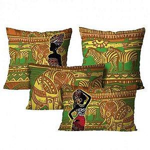 Kit com 4 Almofadas Africanas – Colorido