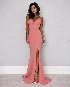Vestido Longo Fenda Rose