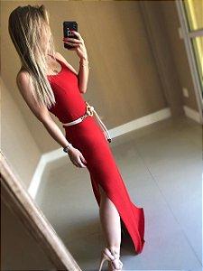 Vestido Canelado Thainá Vermelho