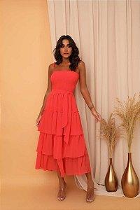 Vestido Mid Brunna Coral
