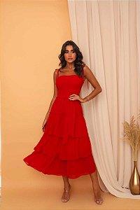 Vestido Mid Brunna Vermelho