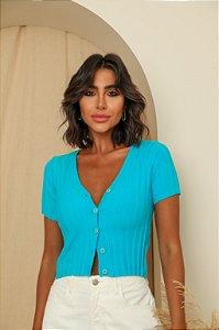 Blusa Cardigan Simone Azul