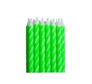 Vela Palito para Aniversário Verde e Branco