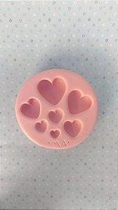 Molde de silicone Coração Tamanhos Variados