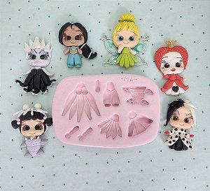 Molde de silicone Aplique Personagens (Jasmim, Rainha Má, Boo, Ursula, Cruela)