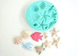 Molde de silicone Fundo do mar (Conchas, Peixe, Tartaruga)