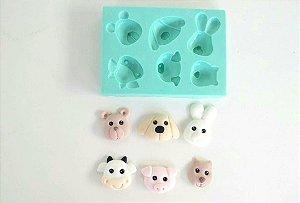 Molde de silicone Animais bosque , fazendinha (vaca, cachorro, porco, coelho, urso, castor)