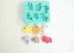 Molde Fundo do mar (baleia, peixe, tartaruga, polvo, cavalo marinho, caranguejo)