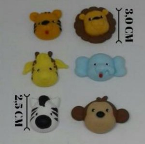 Molde de silicone Safari Rostinhos (elefante, leão, girafa, macaco, zebra, tigre)