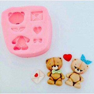 Molde de silicone  Urso Dia dos Namorados / carta / coração