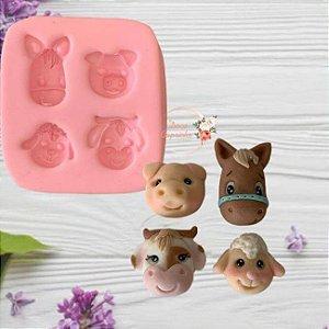 Molde de silicone Animais da Fazendinha cavalo, porco, ovelha e vaca (Modelo 2)