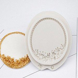 Molde de silicone Moldura Cesta de Flores (modelo 8)