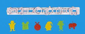 Régua 3D Natal (bola de natal, pinguim, boneco de neve, urso polar, presente e gnomo)