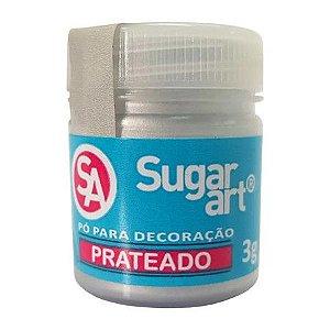 Pó para decoração prateado prata Sugar art