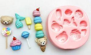 Molde de silicone urso, cauda da sereia, picolé, sorvete, rosa, cupcake