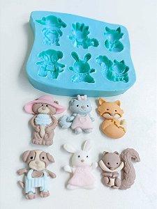 Molde de silicone Animais do Bosque/ Jardim Encantado (raposa, cachorro, urso, coelho, gato)