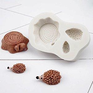 Molde de silicone Tronco e Porco Espinho / Bosque