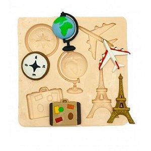Molde de silicone Tema Volta ao Mundo mundo, globo, avião, torre Eiffel, mala, bussola