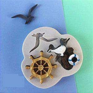 Molde de silicone Tema Marinheiro / Fundo do mar / gaivota
