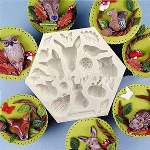 Molde de silicone Tema Animais do Bosque/Floresta raposa, coelho, folha, abobora, pássaro, coruja