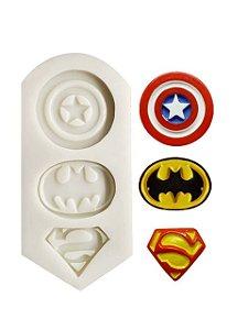 Molde  de silicone Símbolo dos Heróis (Batman, Super Homem, Capitão América)